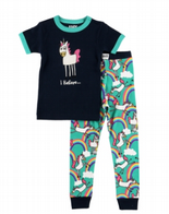 Girls LazyOne I Believe Unicorn PJ's with Short Sleeves